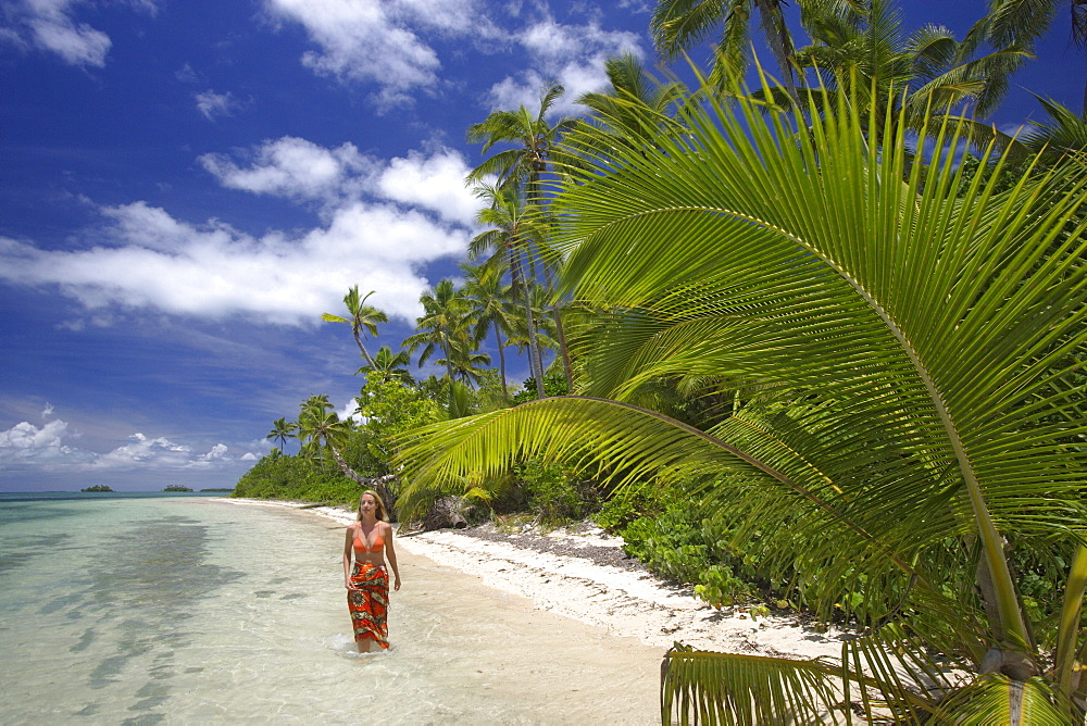 Woman at the beach, Fafa Island Resort, Tonga, South Seas