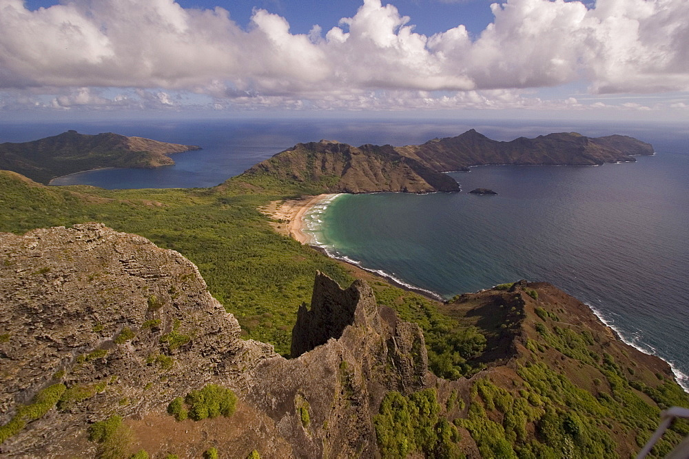 HAA'ATUATUA, aerial view of bay, beach and ocean, Nuku Hiva, Marquesas, Polynesia, Oceania