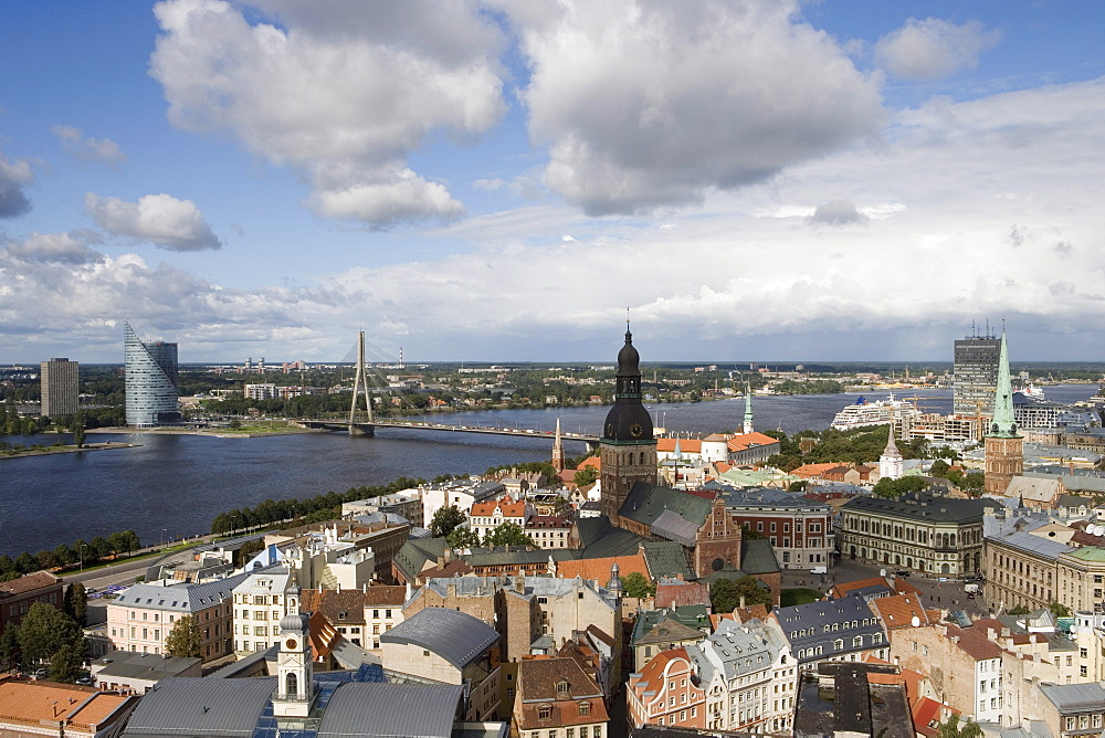 Riga Rooftops and MS Europa, View from Spire of St. John's Church, Riga, Latvia
