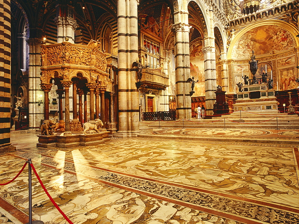 Interior view of Santa Maria Assunta, Cathedral of Siena, Tuscany, Italy