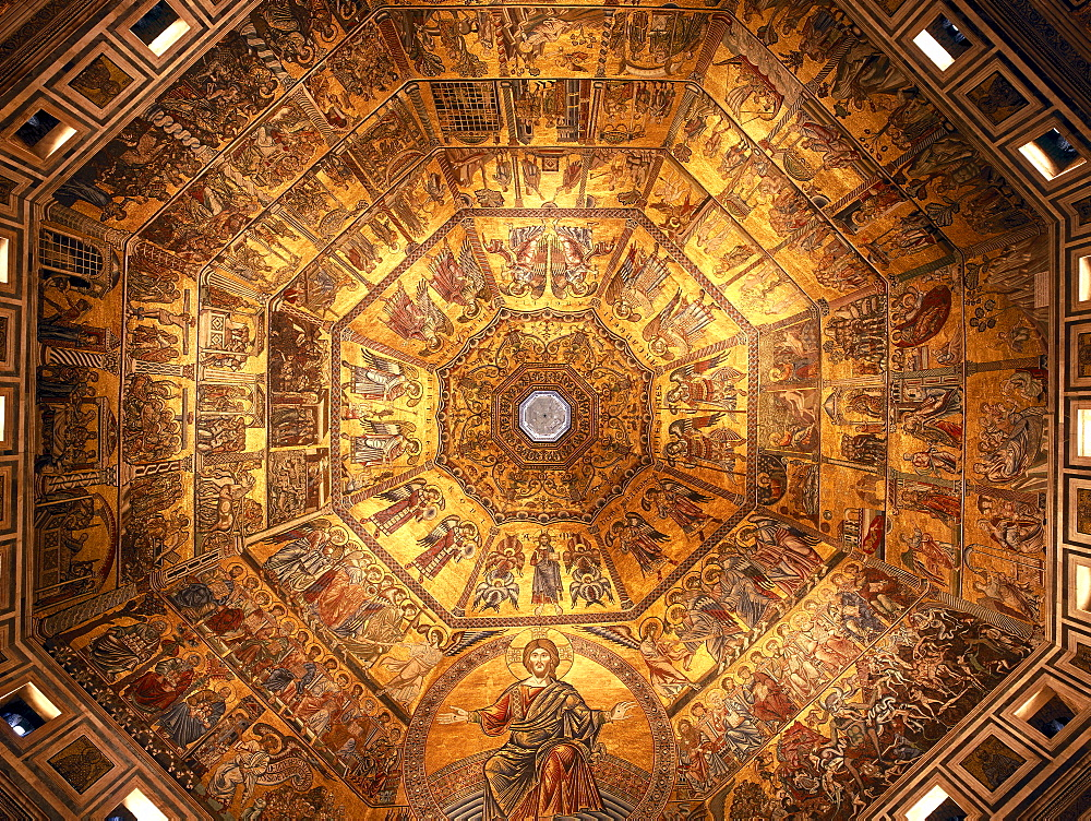Astrodome-mosaic, Artists Giotto and Cimabue, baptistery of the cathedral, Battistero San Giovanni, Florence, Tuscany, Italy