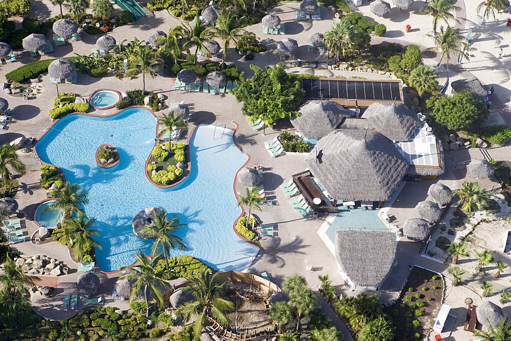 Aerial Photo of Costa Linda Resort Swimming Pool, Aruba, Dutch Caribbean