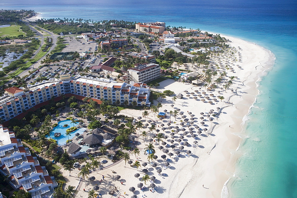 Aerial Photo of Resorts on Eagle Beach, Aruba, Dutch Caribbean