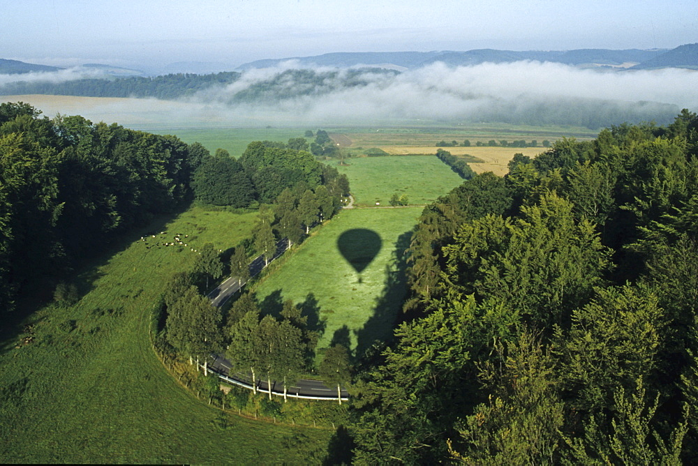 aerial photo above the Weserbergland landscape, balloon shadow, Lower Saxony, northern Germany