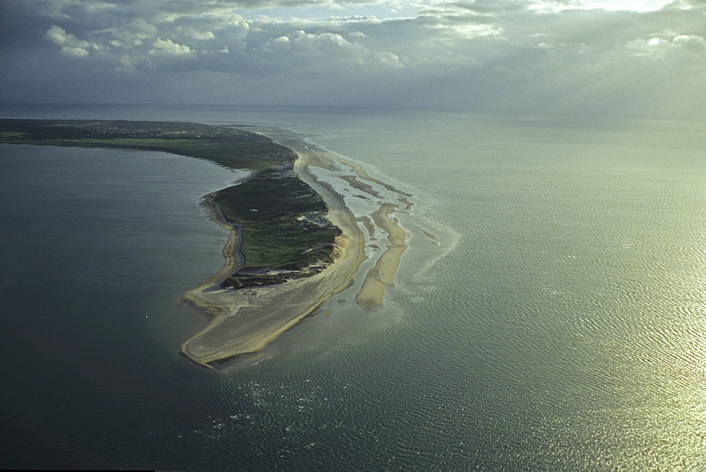 aerial photo of Amrum and saand dunes, one of the North Frisian Islands on the German coast of the North Sea in the Federal State of Schleswig-Holstein