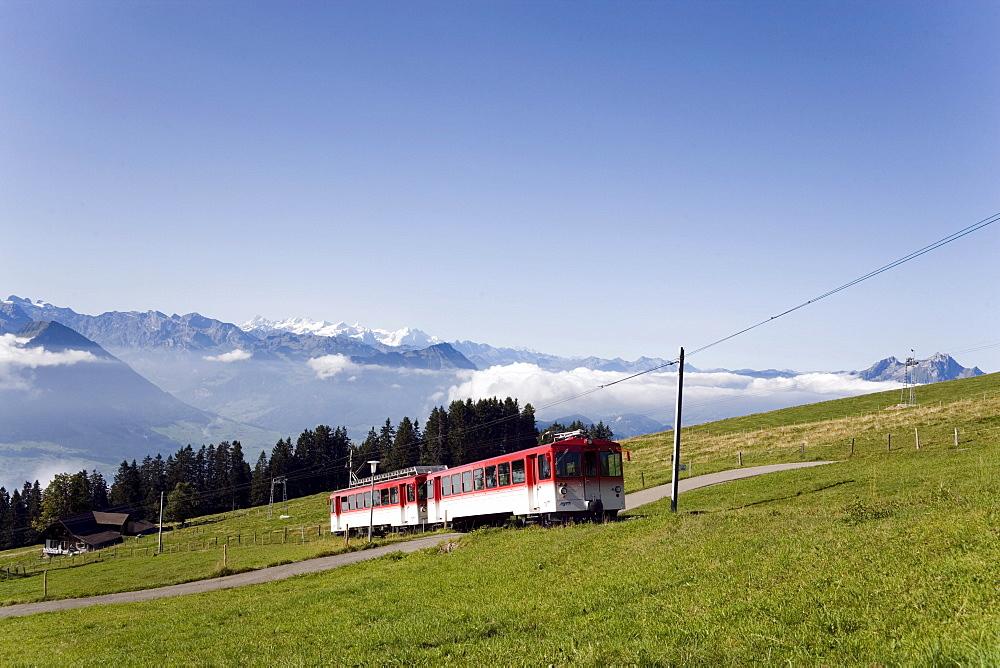 Rack railway Vitznau Rigi Bahn, the first mountain railway of Europe, on the way, Rigi Kulm, Canton of Schwyz, Switzerland