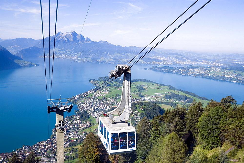 Weggis Rigi Kaltbad Aerial Cableway on Rigi (1797 m), Pilatus (2132 m) in background, Weggis, Canton of Lucerne, Switzerland