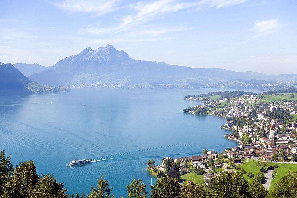 View over Weggis at Lake Lucerne to mountain Pilatus (2132 m) in background, Weggis, Canton of Lucerne, Switzerland