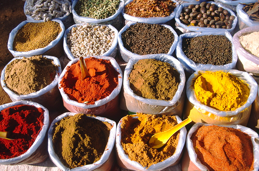 India Goa Mapsa market curry spices