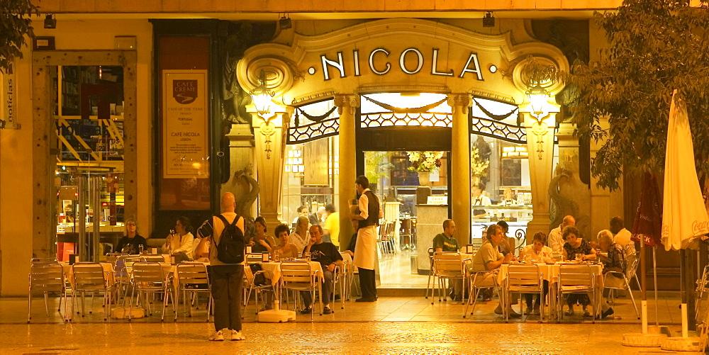 Portugal, Lisbon, Lissanbon Cafe Nicola at night