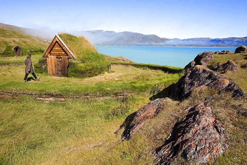 The reconstructed first church of Greenland at Qassiarsuk, the place were the first vikings with Erik the Red settled, Qassiarsuk, South Greenland
