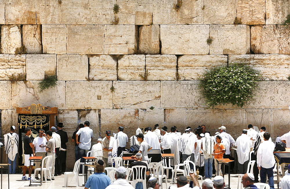 People praying at the Wailing Wall, Jerusalem, Israel