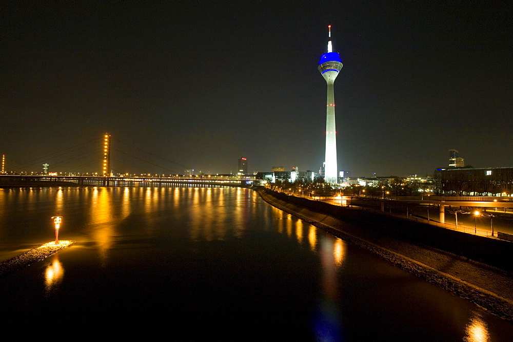 Media Harbour at night with television tower in the background, Duesseldorf, state capital of NRW, North-Rhine-Westphalia, Germany