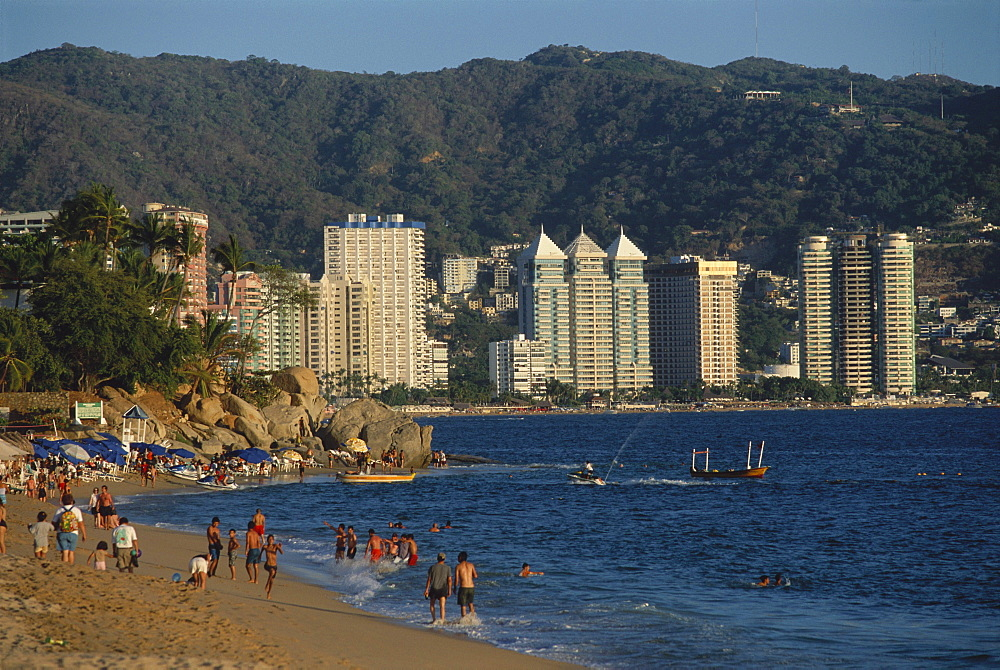 The beach and highrise buildings at Playa Condesa, Acapulco, Mexico