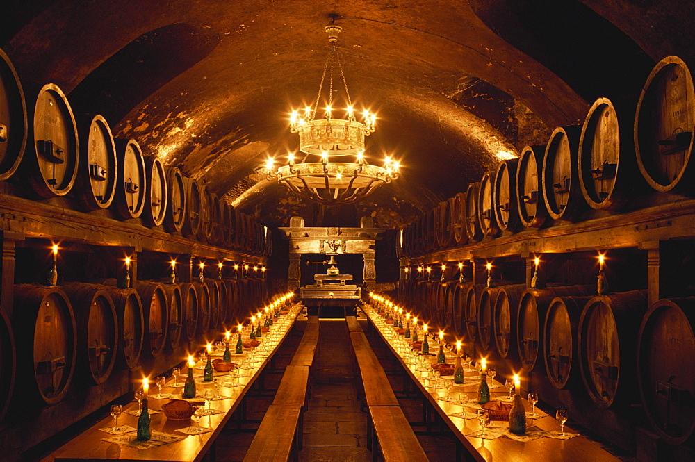 Wine cellar of the Residenz, Hotel cellar, Wurzburg, Franconia, Germany