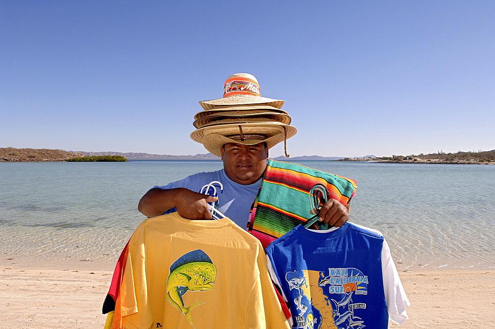 Souvenir vender, Playa Requéson, Baja California, Mexico