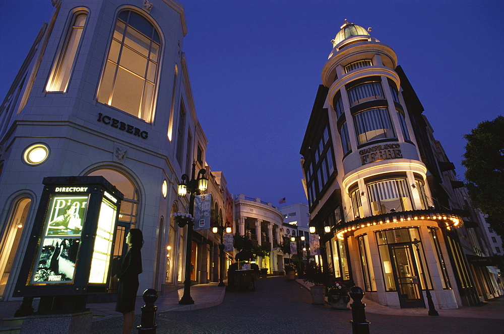 Rodeo Drive at night, Shopping, Beverly Hills, Los Angeles, California, USA
