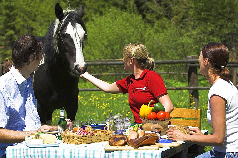 reiter mit pferd beim essen in der natur