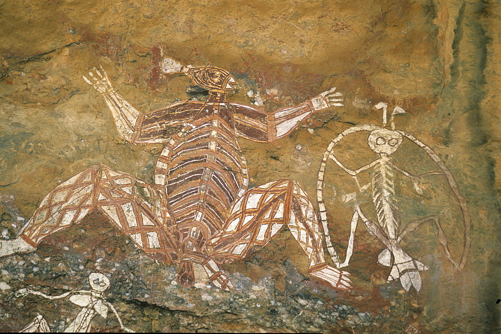 Aboriginal rock art, rock paintings at Nourlangie Rock, Kakadu National Park, Northern Territory, Australia