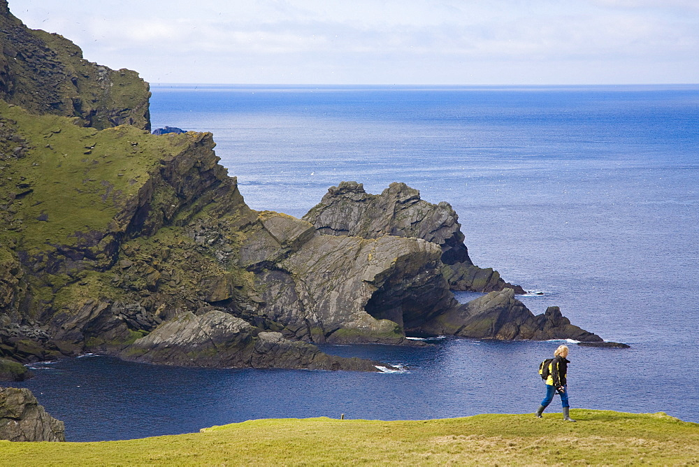 A woman walking along the coast of the Nature Protection Area, Hermaness, Island of Unst, Shetland islands, Scotland, Great Britain