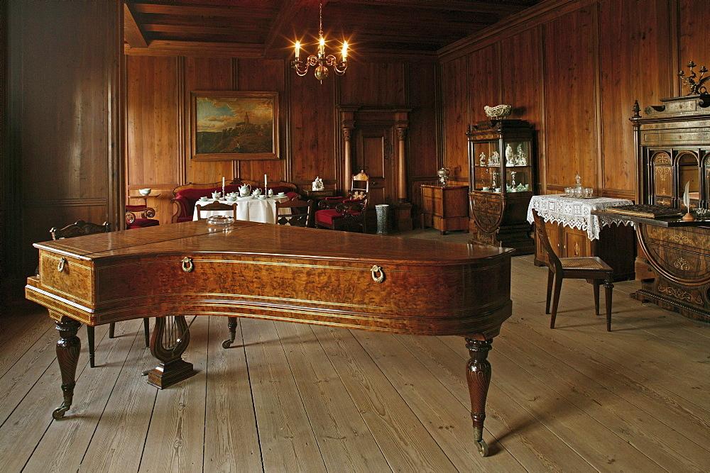 piano, salon, Burg Falkenstein, medieval castle, Harz Mountains, Saxony Anhalt, northern Germany