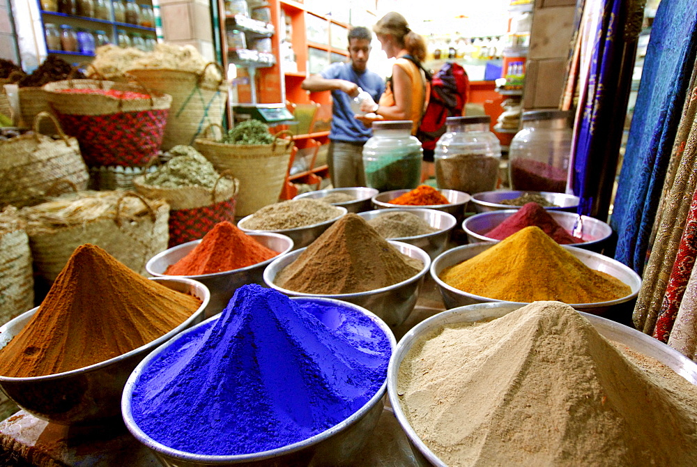 colour powder and spices, street scene at night, market in Aswan, Egypt, Africa