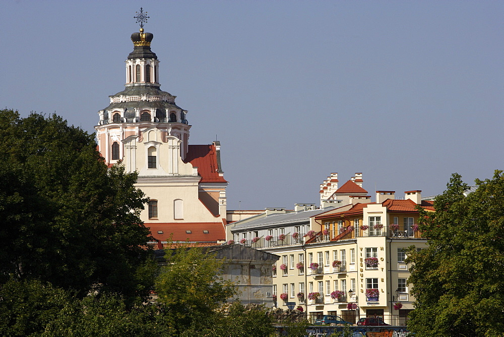 A view of Boksto-Street and the cupola of St. Casimir church, Lithuania, Vilnius