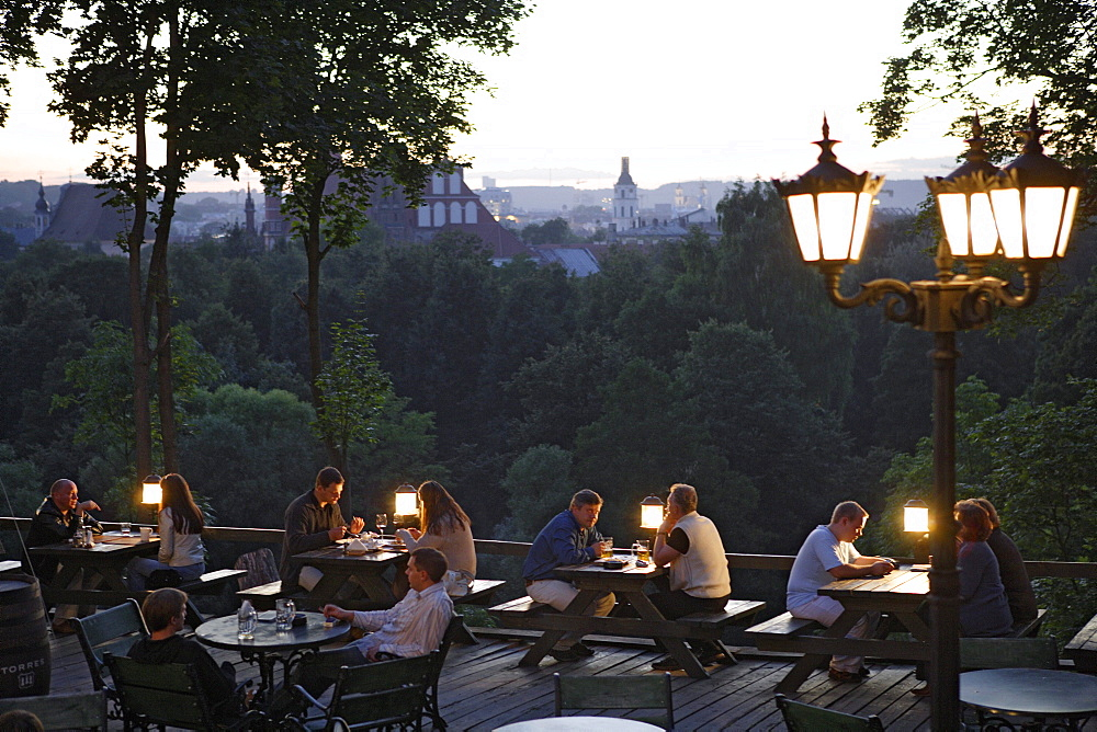 The Torres restaurant in Uzupis street offers a view over the old town, Lithuania, Vilnius