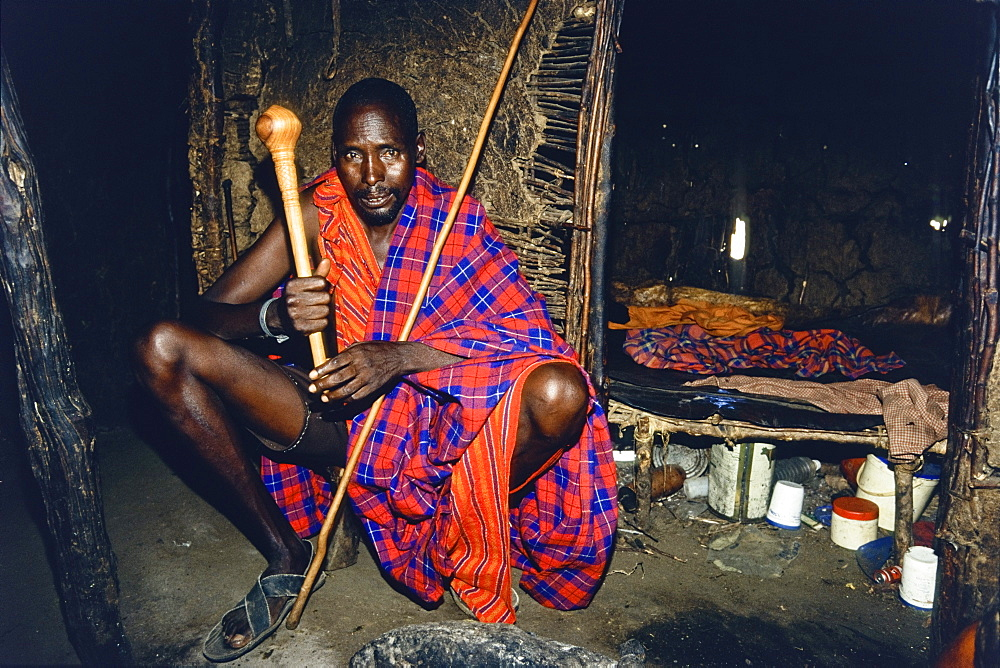 Massai headman in his typical house, Tanzania, East Africa