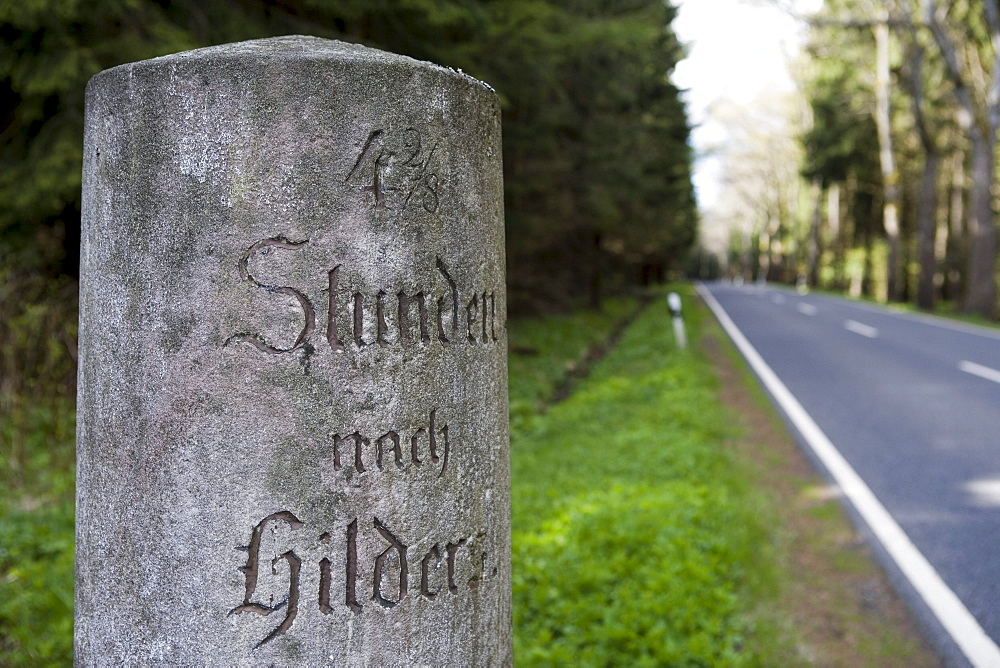 Historic road sign, distance marker stone to Hilders, near Hilders, Rhoen, Hesse, Germany