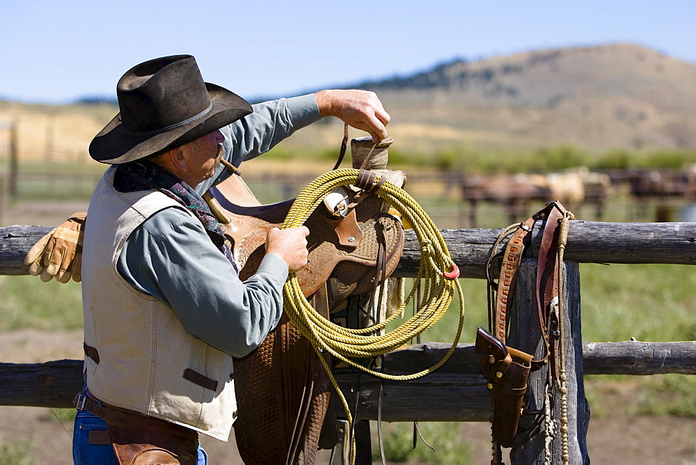 cowboy preparing lasso, wildwest, Oregon, USA