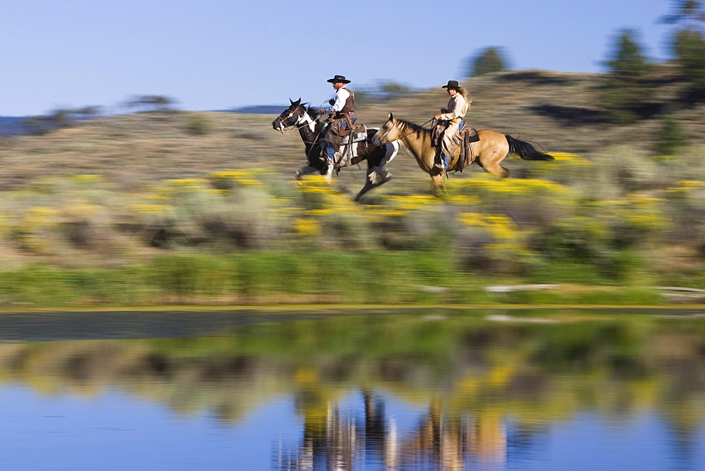 Cowgirl and Cowboy riding, wildwest, Oregon, USA