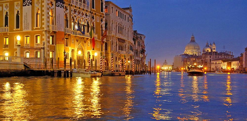 Vaporetto, Canal Grande, Santa Maria della Salute church, Venice, Veneto, Italy