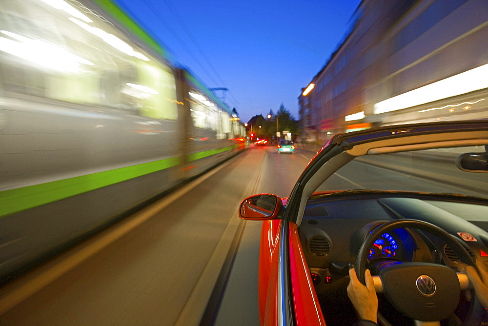 public transport and privat car moving, uestra, Hanover's public transport authority