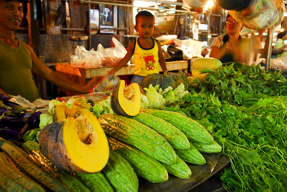Pumpkins, cucumbers and vegetables at the main market, Phuket Town, Thailand