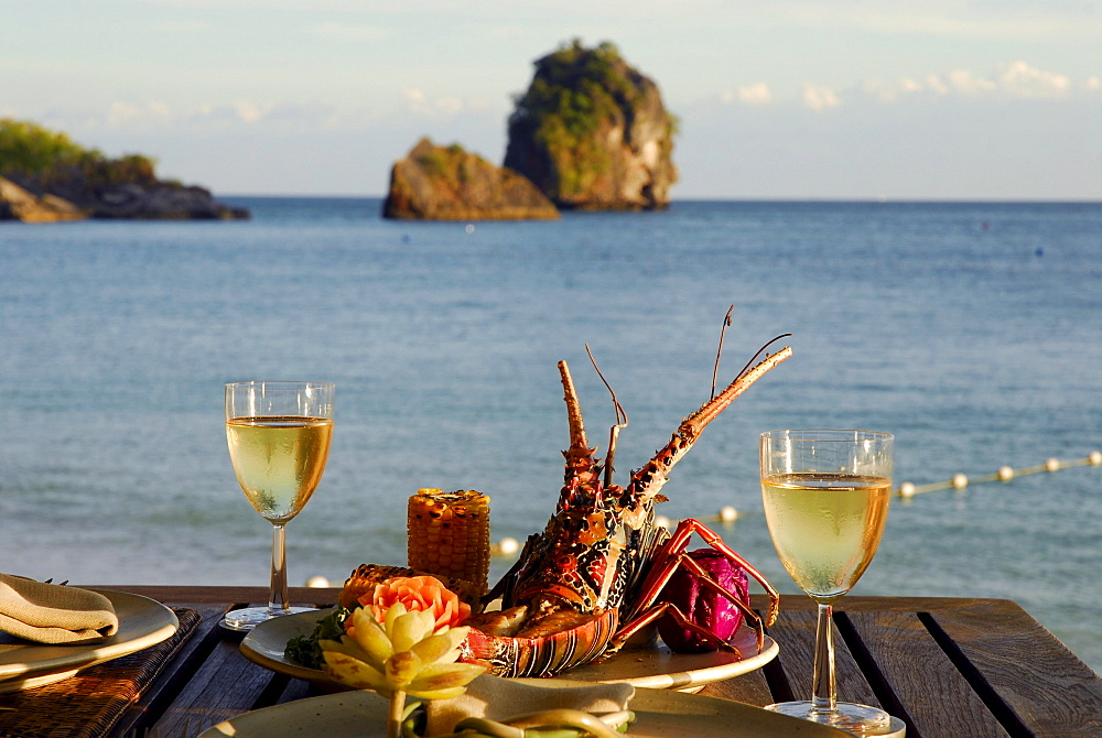 Spiny Lobster dish at Beach Restaurant The Grotto with sea view, Hotel Rayavadee, Hat Phra Nang, Krabi, Thailand
