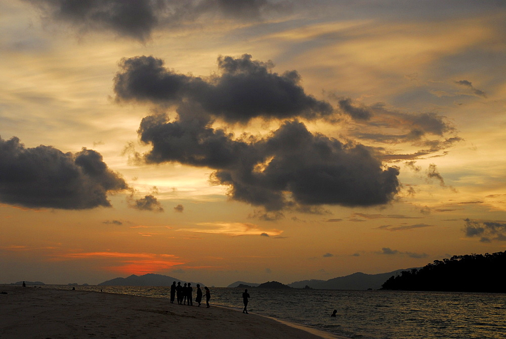 Sunset at Sunlight Beach with view of Ko Adang, Ko Lipe, Satun, Thailand