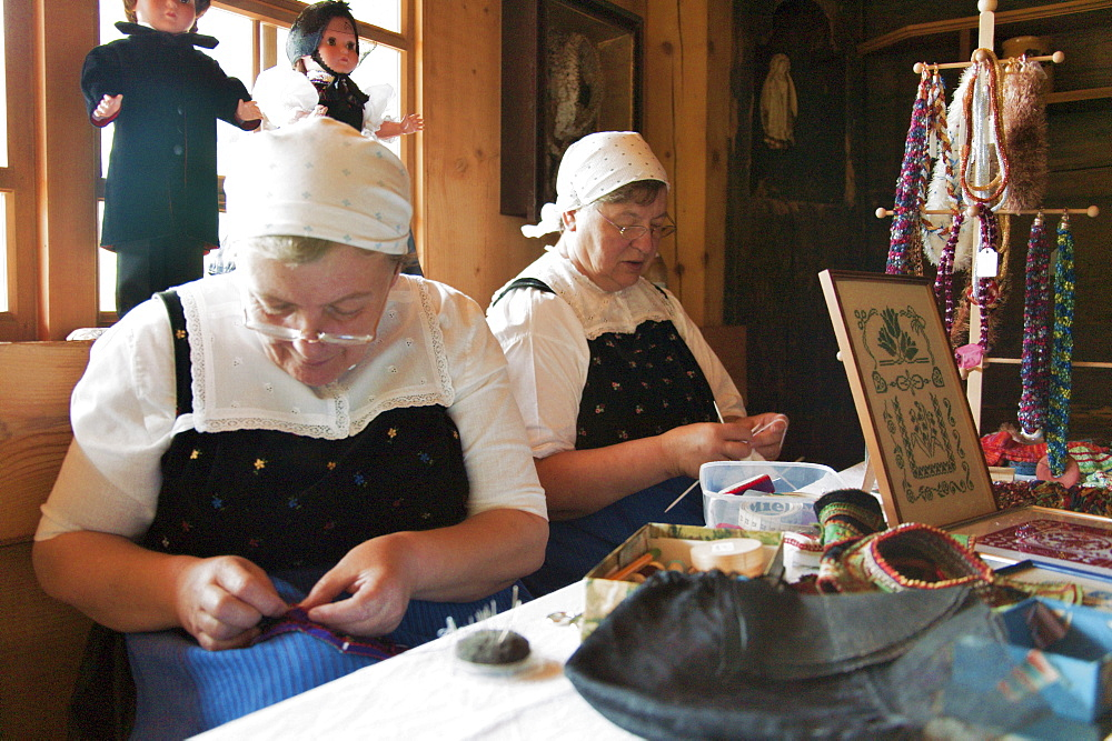 Two Women sewing traditional Costumes, Farmhouse Gutach Valley, Black Forest