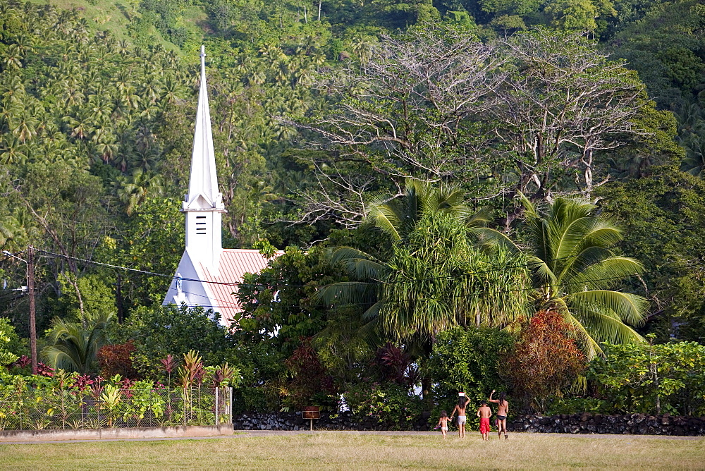 Church of Omo'a between trees, Fatu Hiva, Marquesas, Polynesia, Oceania