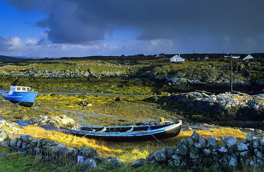 Coastal landscape with fishing boats, Lettermullan peninsula, Connemara, Co. Galway, Ireland, Europe