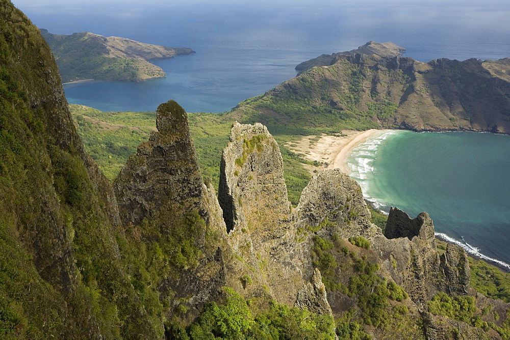 Aerial view of pinnacles and a bay, Haa'atuatua, Nuku Hiva, Marquesas