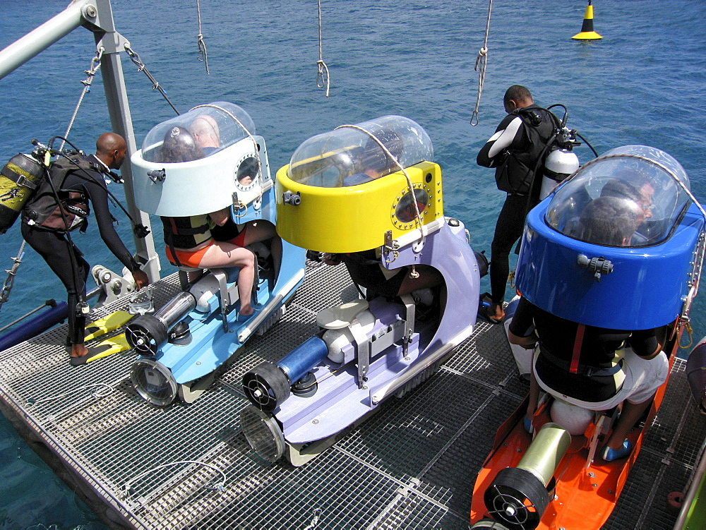 Sub-Scooters Being Lowered From Operations Platform, Blue Safari Submarine, Trou aux Biches, Riviere du Rempart District, Mauritius