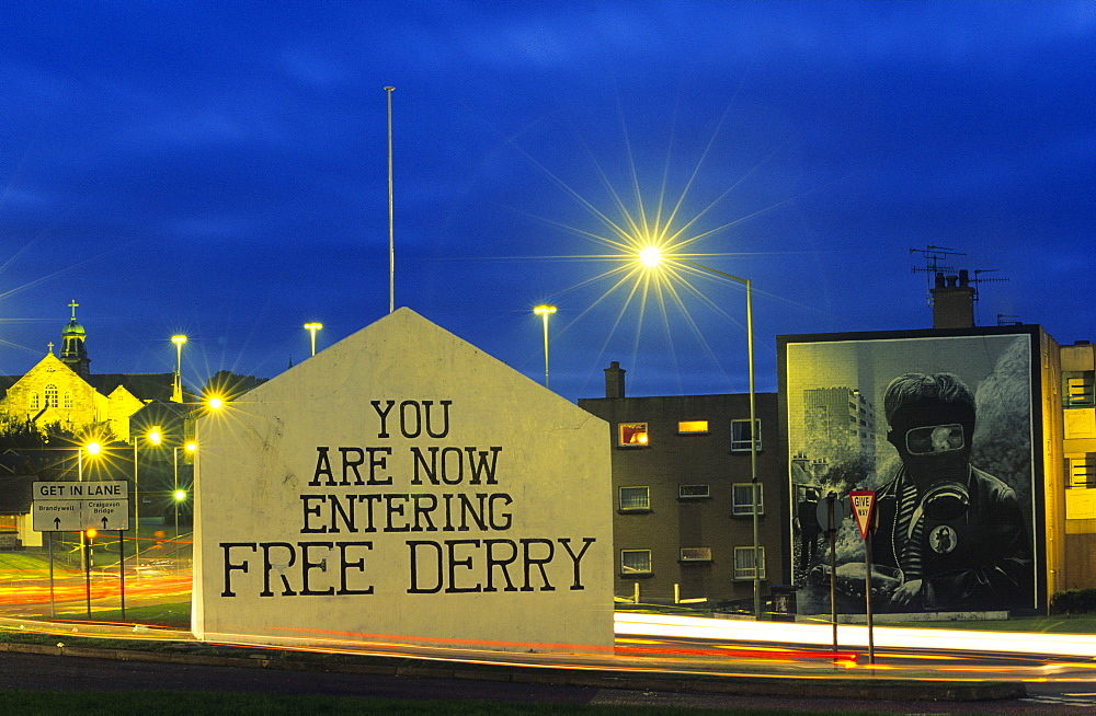 Free Derry mural, You are now entering Free Derry, The Bogside, a nationalist neighbourhood. The area has been a focus point for many of the events of the Troubles, Bogside, Derry, Co. Londonderry, Northern Ireland, Great Britain, Europe