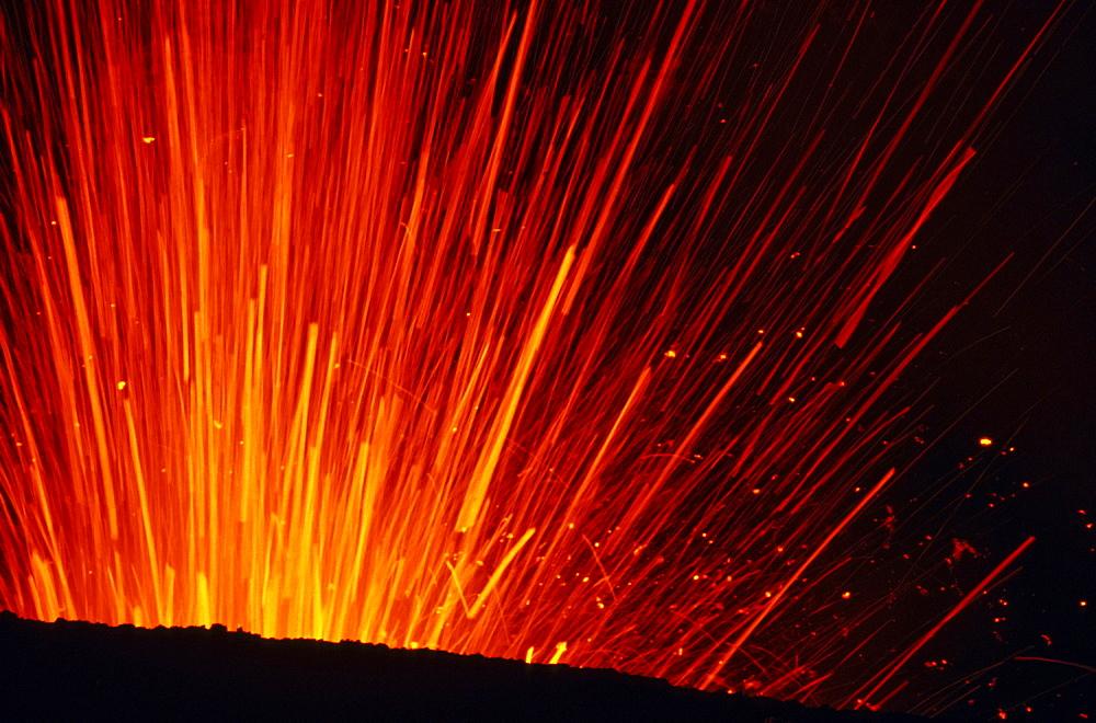 Close up of lava fountain of Yasur volcano at night, Tanna, Vanuatu, South Pacific, Oceania
