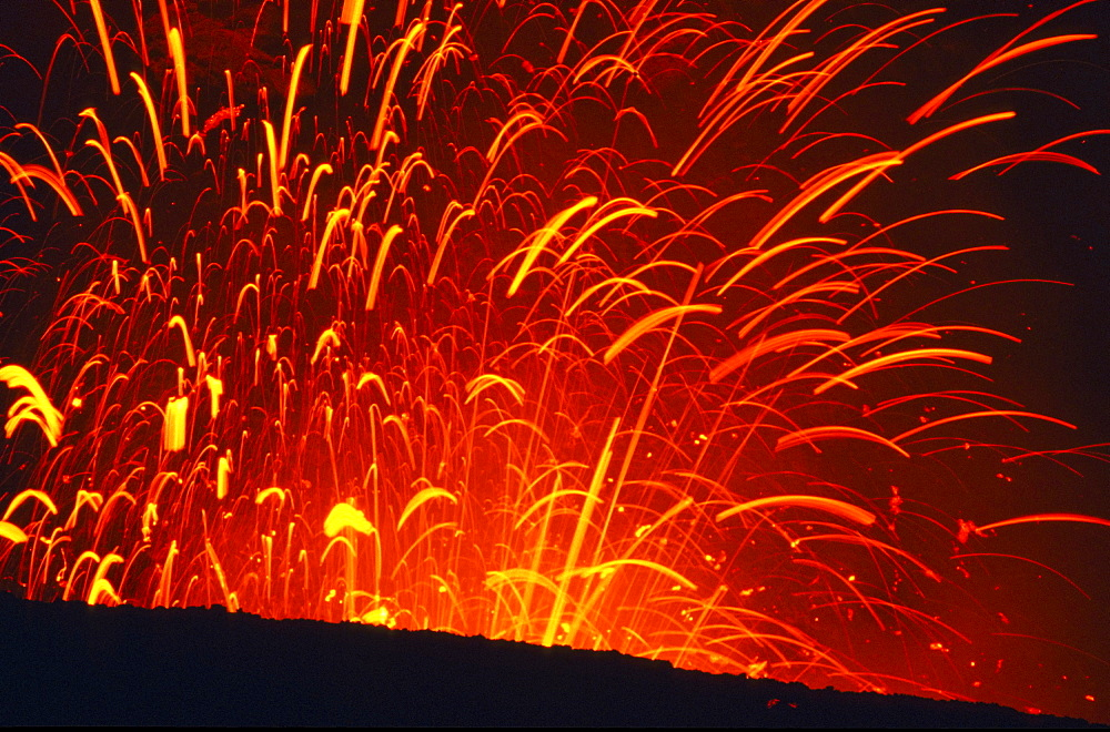 Close up of lava fountain of Yasur volcano at night, Tanna, Vanuatu, South Pacific, Oceania