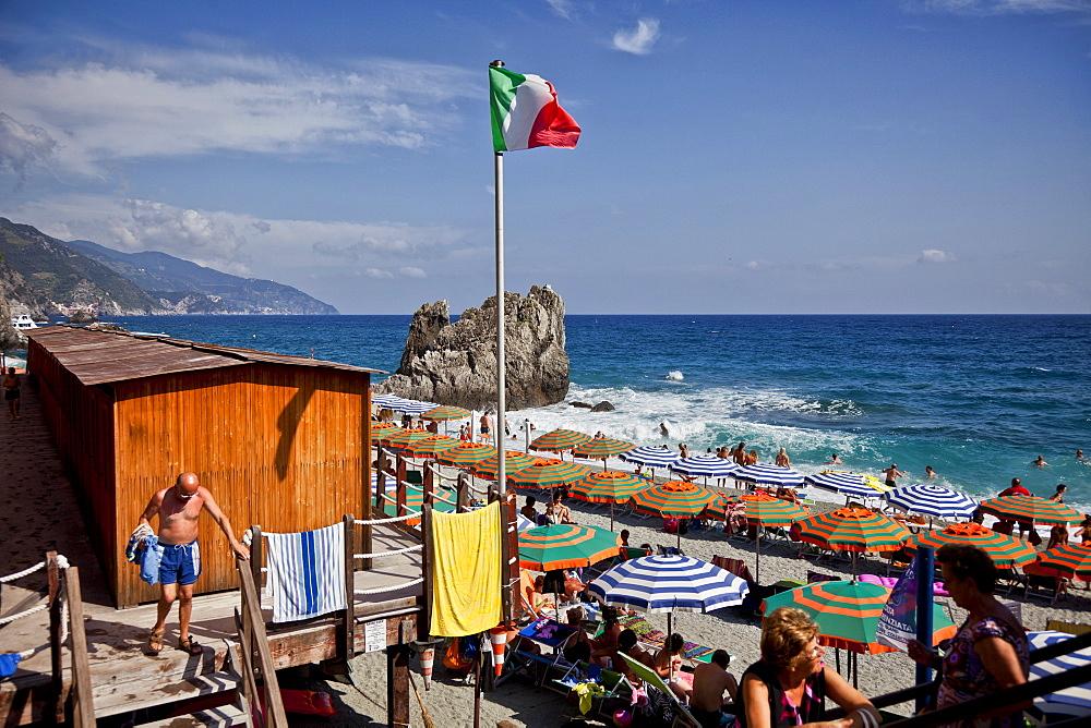 Beach at Monterosso, Cinque Terre National Park, Unesco World Heritage, Italian Riviera, Liguria, Italy