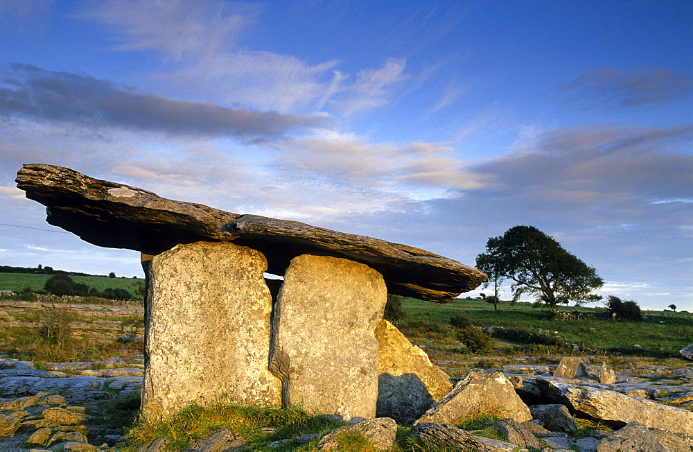 Poulnabrone Dolmen in the Burren under clouded sky, County Clare, Ireland, Europe