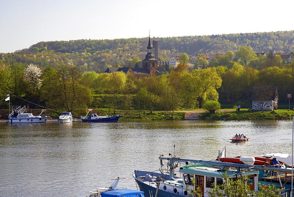 View at marina and St. Arunal, Saar, Saarbruecken, Saar Territory, Germany, Europe