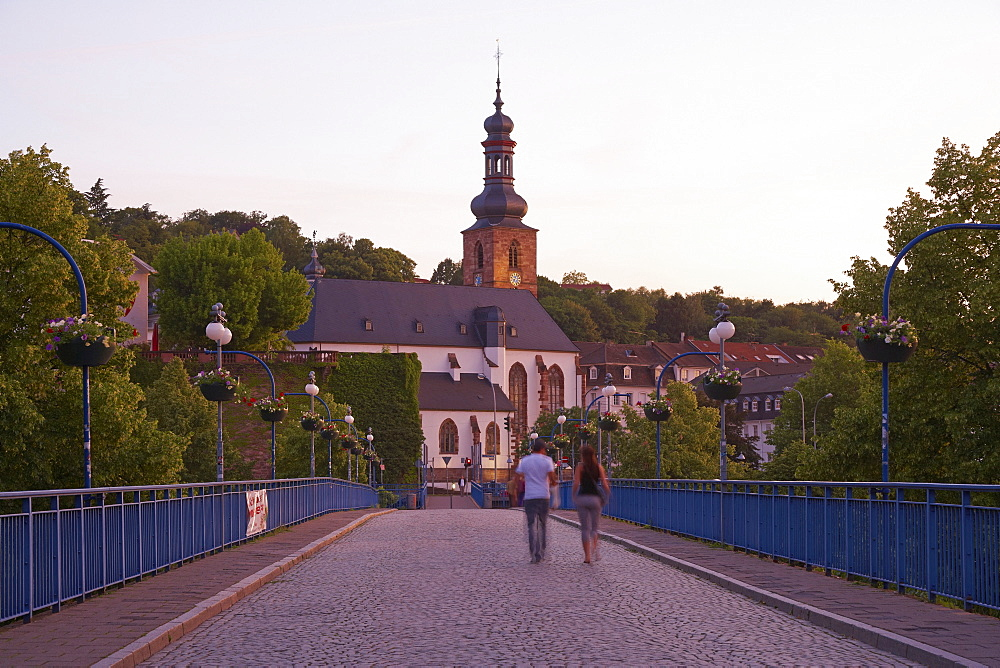 View at the castle church and the old bridge in the evening, Saarbruecken, Saarland, Germany, Europe