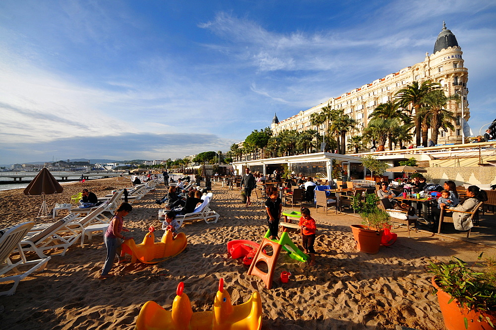 Beach at Carlton hotel at the Croisette, Cannes, Cote d'Azur, South France, Europe